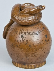 This excellent example of an Anna Pottery snake jug brought $21,275 in our November 2008 auction.