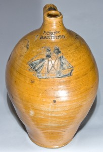 P. CROSS / HARTFORD stoneware jug with incised ship design, to be sold in our July 11, 2009 auction.