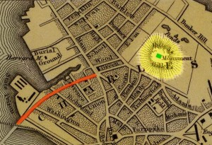 Map showing Austin Street in red, Breed's Hill in yellow, and the monument in green. Original map image courtesy David Rumsey Map Collection