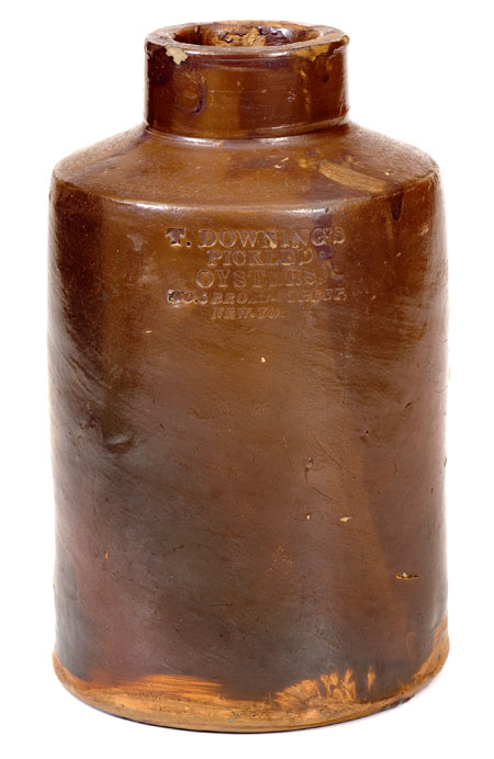 Attributed Clarkson Crolius Stoneware Oyster Jar for African-American OystermanThomas Downing