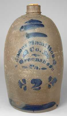 James Hamilton / & Co. / Greensboro / Pa Cobalt-Decorated Stoneware Jug