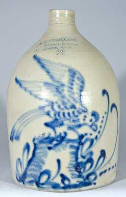 A.B. WHEELER & CO, Mass. Stoneware Bird on Stump Jug