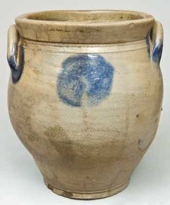 Ovoid Stoneware Jar with Large Blue Dot Decoration.