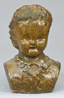 Glazed Pottery Bust of a Girl, probably Midwestern origin.