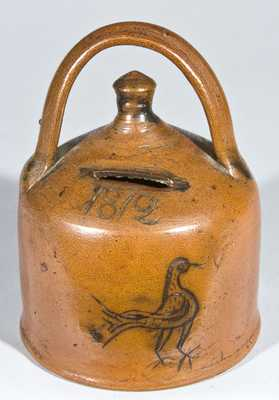CT Stoneware Presentation Bank w/ Incised Bird, Dated 1812