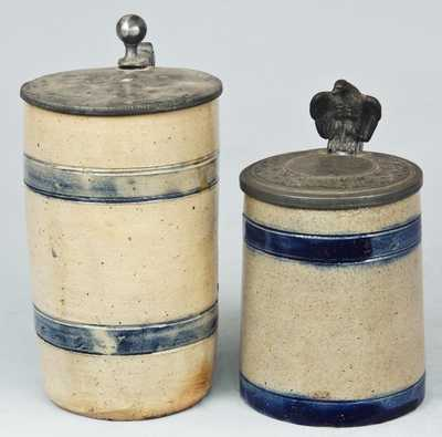 Two Pewter-Lidded Stoneware Mugs