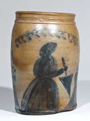 Morgantown / Uniontown Stoneware People Jar, Woman with Parasol
