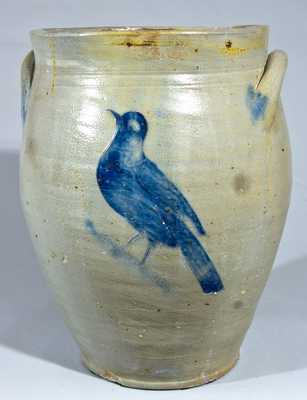 Stoneware Jar with Incised Bird and Floral, prob. Albany, NY