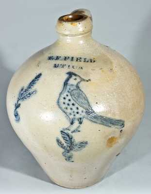 T.F. FIELD / UTICA Stoneware Jug with Incised Woodpecker Decoration