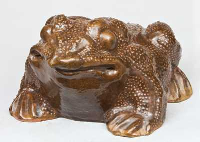 Large-Sized Redware Figure of a Toad, late 19th or early 20th century