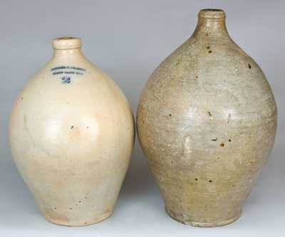Two Stoneware Jugs, One PORTER & FRASER / WEST TROY NY