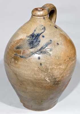 Probably Manhattan Stoneware Incised Owl Jug, possibly John Remmey III