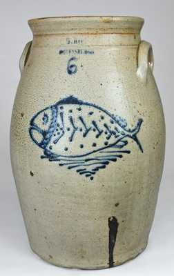 W. HART / OGDENSBURGH Stoneware Six-Gallon Churn with Folk Art Fish Decoration