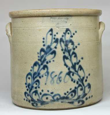 FORT EDWARD / POTTERY CO Stoneware Crock with Cobalt Wreath, Dated 1860