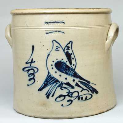 S. HART / FULTON Stoneware Crock with Double Bird Decoration
