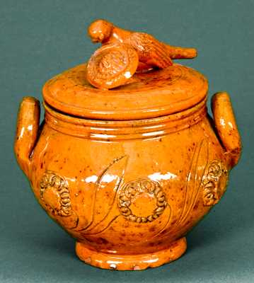 Redware Lidded Sugar Bowl with Bird Finial attrib. James Mackley, Thurmont, MD