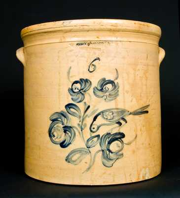 Stoneware Jar with Bird and Floral Decoration, attrib. Wm. Macquoid, New York