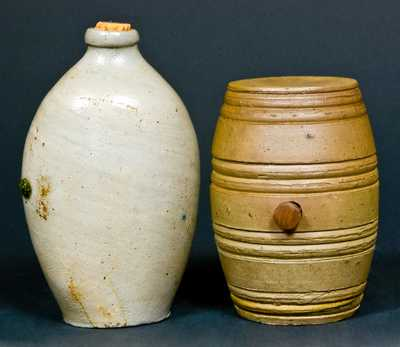 (2) Stoneware Pieces: Flask and Rundlet