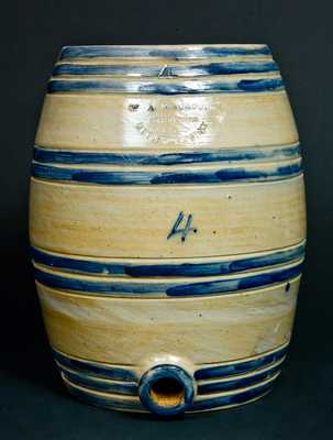 W A MACQUOID / POTTERY WORKS / LITTLE WST 12TH ST. N.Y. Stoneware Keg Water Cooler