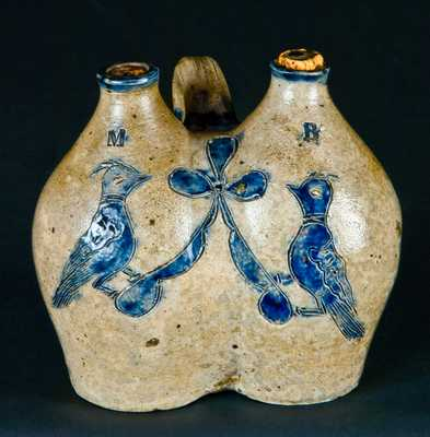 Early Manhattan, NY or New Haven, CT Stoneware Gemel (Double Jug)