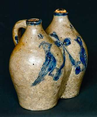 Antique American Stoneware Gemel w/ Incised Birds