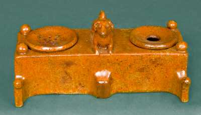 Redware Inkstand with Dog