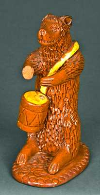 Redware Bear-with-Drum Figure