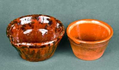 Lot of 2: Miniature Redware Milkpan and Miniature Redware Mixing Bowl