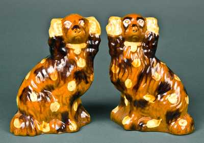 Pair of Redware Spaniels, probably Pennsylvania