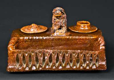 Shanksville, PA Redware Inkwell with Dog Finial