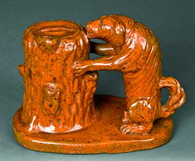 Redware Dog-with-Stump Bank