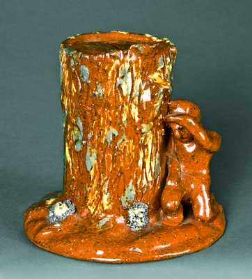 Redware Indian-with-Stump Bank, probably Pennsylvania