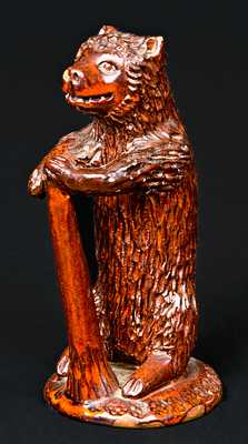 Redware Bear-with-Club Figure