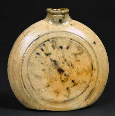 Stoneware Clock Face Flask, probably New York