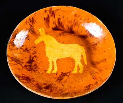 Medinger Redware Charger with Horse Decoration
