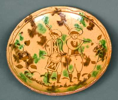 Jacob Medinger Redware Sgraffito Plate with Soldier Design