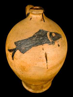 Extremely Fine Ohio Stoneware Jug w/ Incised Fish Decoration