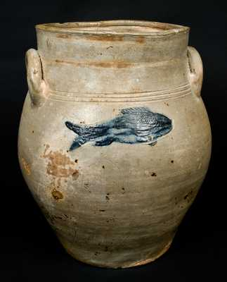 Stoneware Jar with Incised Fish Decoration attrib. Fenton, Boston