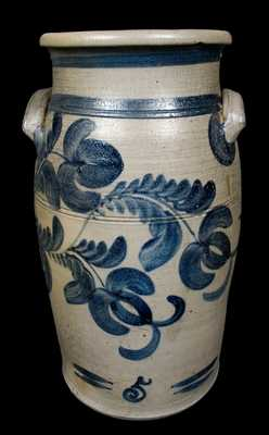 Five-Gallon HAMILTON / Greensboro / PA Fuschia-Decorated Stoneware Churn