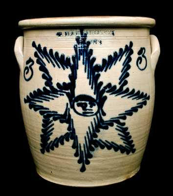 T. HARRINGTON / LYONS, New York Starface Stoneware Crock