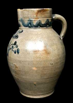 Hartford, CT Stoneware Pitcher with Incised Floral Decoration