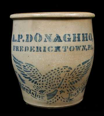 A.P. DONAGHHO, / FREDERICKTOWN, PA Stoneware Jar with Eagle