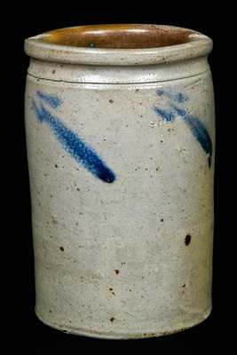 S. Bell & Son Stoneware Crock w/ Incised House & Strasburg Inscription