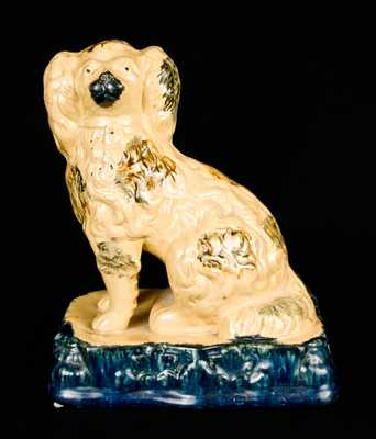 Very Fine Yellowware Spaniel Figure