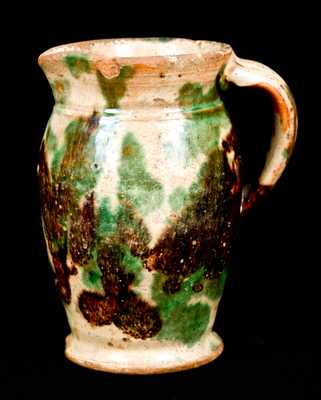 Shenandoah Valley Redware Pitcher, Multi-Glaze