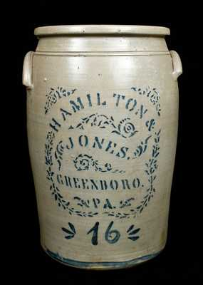 16 Gal. HAMILTON & JONES / GREENSBORO / PA Stoneware Crock