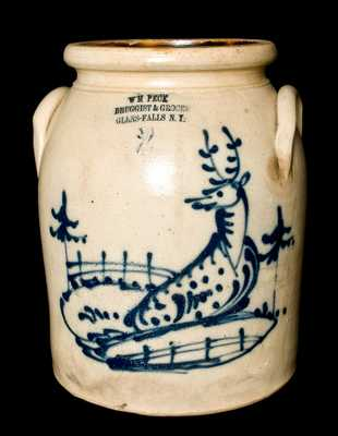 Norton Stoneware Glens Falls, NY Advertising Crock w/ Deer Scene