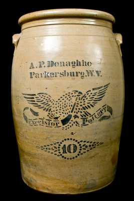 EXCESIOR POTTERY, Parkersburg, WV 10-Gallon Stoneware Crock