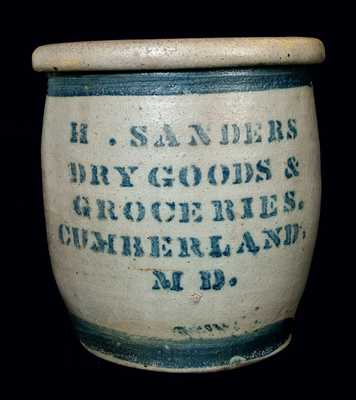 Cumberland, MD Stoneware Advertising Jar