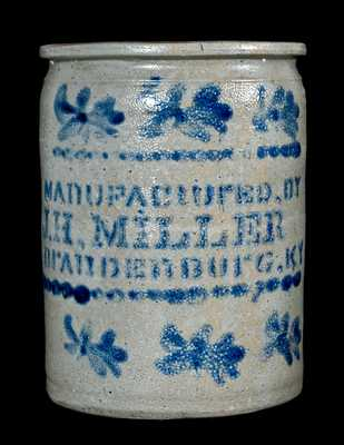 MAnUFACtUrED, BY / J.H. MILLER / BrAnDEnBUrG, KY Stoneware Jar